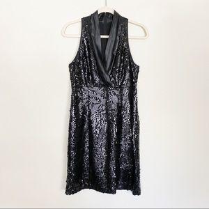 Andrew Marc Sequined Deep V Halter Cocktail Dress